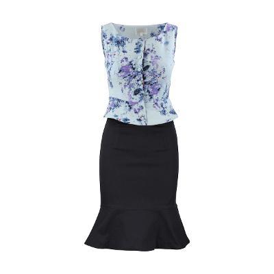 Swing by NABI - peplum sleeveless top skyblue & ruffle skirt navy